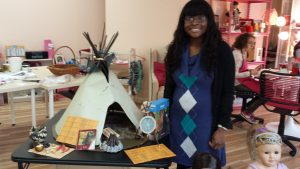 Monica with Kaya's teepee