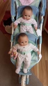 Bitty Babies in their stroller