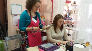 Izzie and Jacqueline working