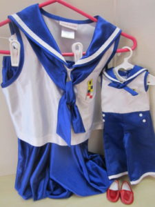 Kit's sailor pajamas with slippers, Girl size one piece
