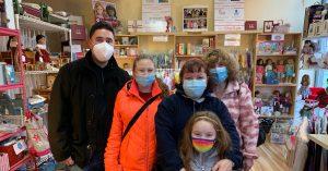 customers wearing masks